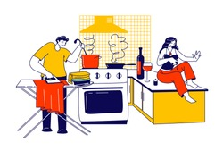 Lazy Spouse Concept. Husband Ironing Clothing and Cooking at the same time. Busy Man Character Household Duties, Woman Wife Sit on Table Make Manicure Drink Wine. Linear People Vector Illustration