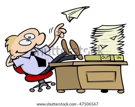 lazy toon guy throwing a paper plane and resting his feet on his desk at work, on a white background
