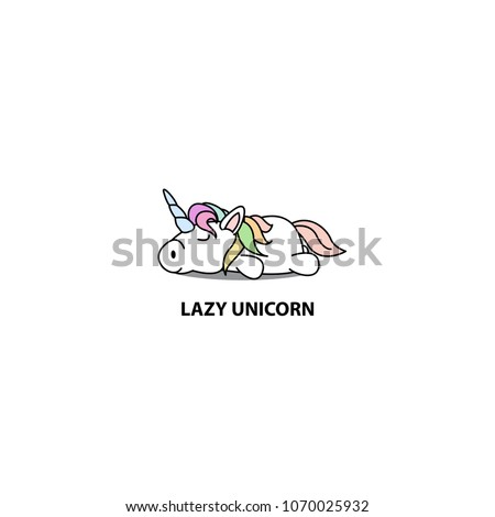 lazy unicorn icon  logo design