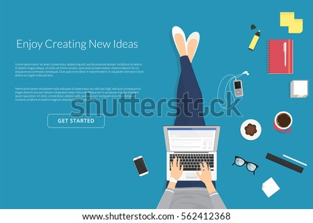 Lazy woman sitting on floor and working with laptop in social networks. Flat vector illustration top view of people relaxing at home, drinking coffee using laptop and typing in social media comments