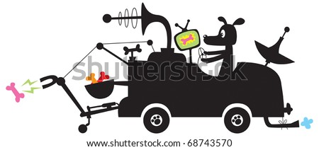 Lazybones Treat-seeking Woofmobile Cartoon Vector Silhouette of crazy Professor Dog's crackpot invention to help him find dog treats.