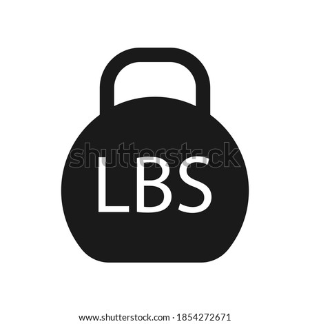 Lb, Lbs weight mass black simple flat icon. Old barbell press in flat design. Black silhouette isolated on white background. Weight pictogram. Imperial system of units Сток-фото ©