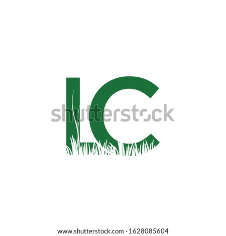 lc logo with grass icon vector
