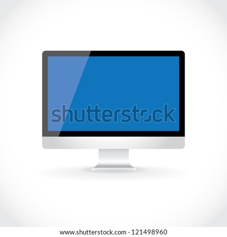 LCD computer display isolated on light gradient, illustration