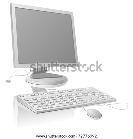 LCD Monitor and Keyboard Template. Vector Illustration (EPS v. 8.0)