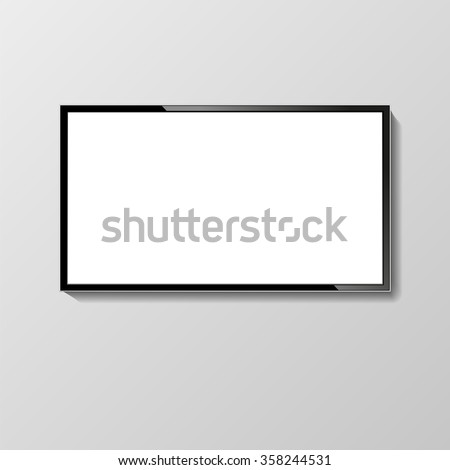 LCD or LED tv screen hanging on the wall. Display blank, technology digital, electronic equipment, mockup. Vector illustration