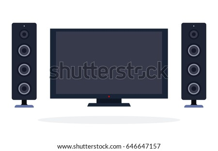 LCD panel and speaker system vector flat material design isolated on white