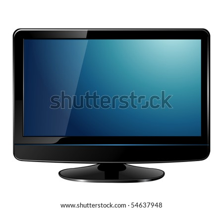 lcd tv monitor, realistic vector illustration.