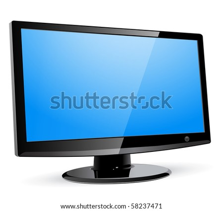 lcd tv monitor, vector. - stock vector