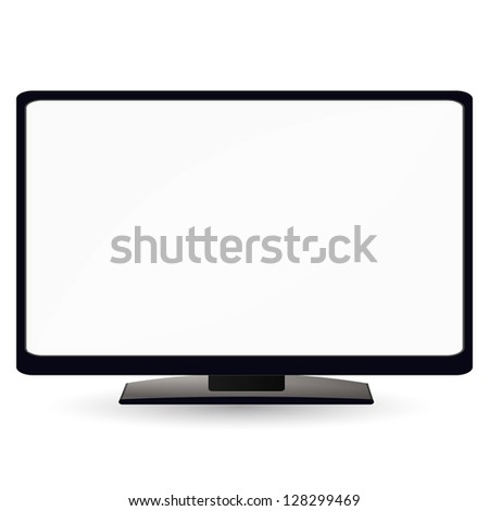 LCD TV monitor with a white screen. Illustration on white background