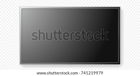 Shutterstock LCD TV screen isolated on transparent background. Vector flat black television panel with glass border. Realistic 3D blank LED smart hdtv display with mat texture surface. Smart TV mockup model