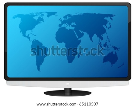 Lcd tv with blue world map. Vector illustration.