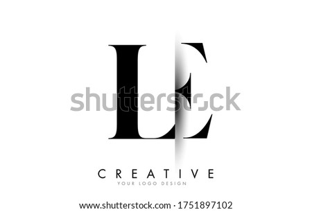 LE L E Letter Logo Design with Creative Shadow Cut Vector Illustration Design. Photo stock ©