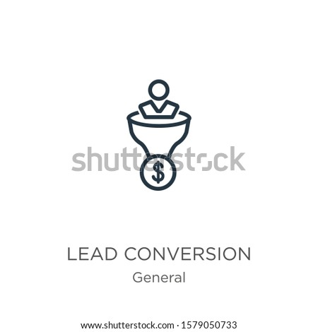 Lead conversion icon. Thin linear lead conversion outline icon isolated on white background from general collection. Line vector sign, symbol for web and mobile