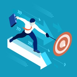 Lead Executive Business Character Finance Manager Businessman. Business Leadership Management. 3D Flat Center Goal People Illustration. Data Scientist Man Leader concept Vector Image