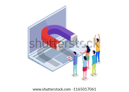 Lead Generate, Inbound Marketing Magnet, Sales funnel isometric concept. Vector illustration