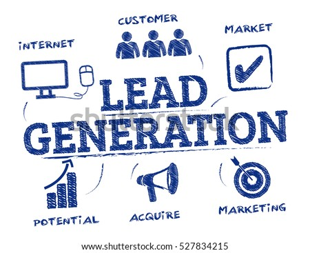 Lead generation. Chart with keywords and icons