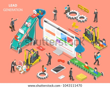 Lead generation flat isometric vector concept. People are loading digital marketing attributes into a funnel from one side and getting a new leads from other side.