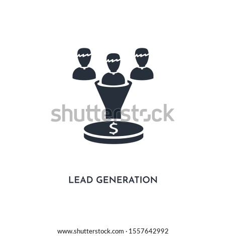 lead generation icon. simple element illustration. isolated trendy filled lead generation icon on white background. can be used for web, mobile, ui.