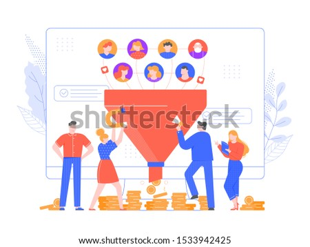 Lead generation. Increasing conversion, sales funnel strategy and generating or attracting new loyal leads vector illustration. Online monetization, market growth. Inbound marketing model, networking