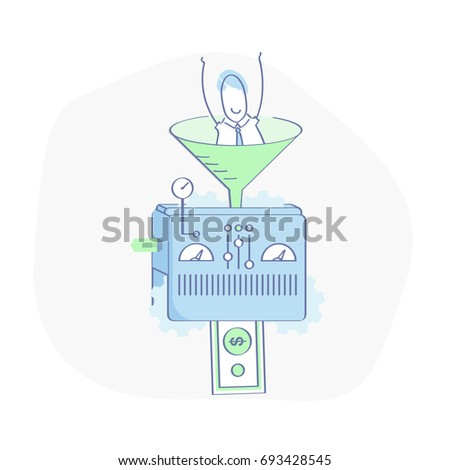 Lead Generation machine, Conversion of users into money icon illustration concept. Sales funnel and Profit machine, Marketing process for generating business leads. Flat line vector.