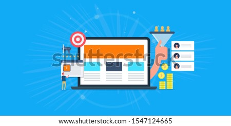 Lead generation strategy, Lead marketing, Conversion funnel, generate website leads conceptual vector illustration