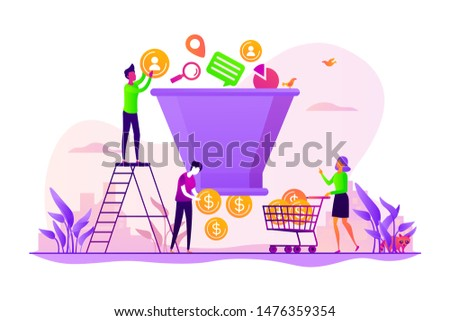 Lead generation, targeted marketing campaign strategy. Sales funnel management, customer journey representation, sales funnel stages concept. Vector isolated concept creative illustration
