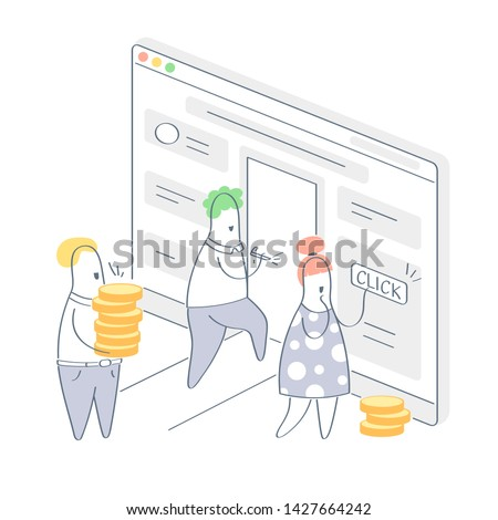 Lead generation, traffic conversion, people with money pushing call to action buttons on the website landing page. Customers conversion, getting new leads concept. Flat outline vector illustration.
