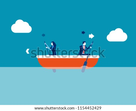 Leader and employee conflict. Concept business direction vector illustration, Boat, Direction, Problem.