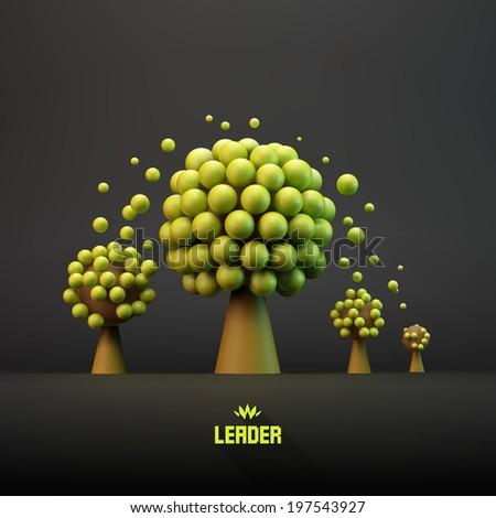 LEADER. Business concept illustration. Leadership 3D vector illustration.