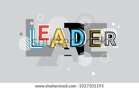 Leader Business Leadership Creative Word Over Abstract Geometric Shapes Background Web Banner Vector Illustration