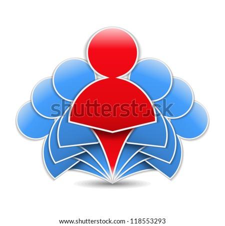 Leader in a team, design elements for your logo, vector eps10 illustration