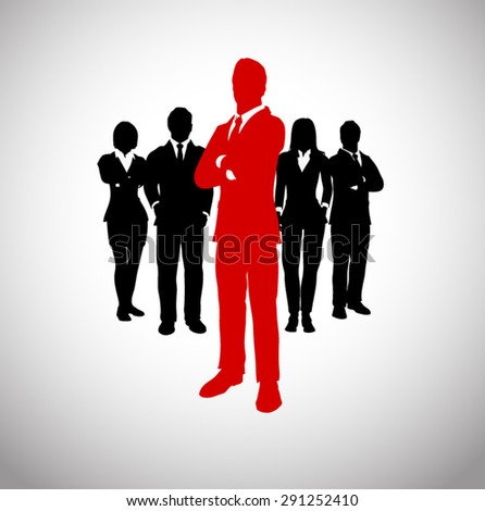 Leader of a team of executives. A successful team of executives led by a great leader.