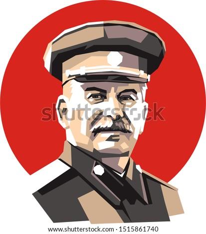 Leader of Soviet Union, Joseph Stalin, simple minimal color illustration on red round background Stock photo ©