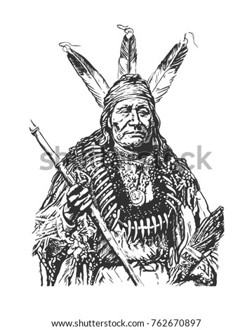 Leader of the Indians. Portrait. American native chief. Hand drawn illustration.
