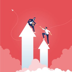 Leader or manager help each other climb the arrows to reach the goal