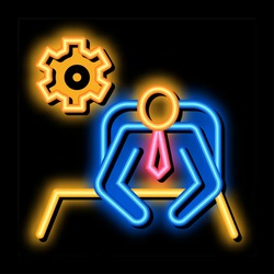 Leader Sit Gear neon light sign vector. Glowing bright icon Leader Sit Gear isometric sign. transparent symbol illustration