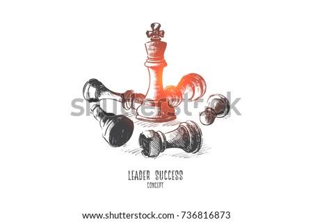 Leader success concept. Hand drawn queen chess figure as symbol of leadership. Successful challenge isolated vector illustration.