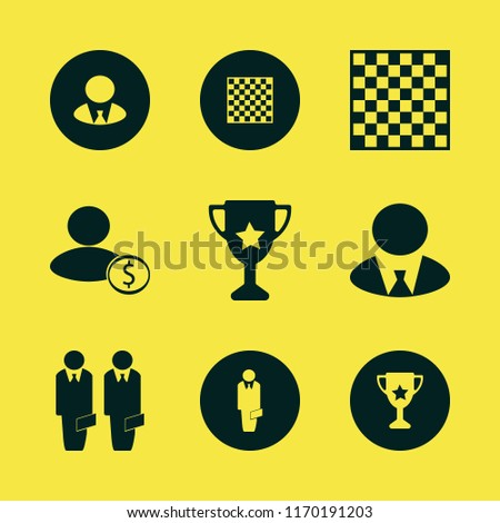 leader vector icons set. with chess board, businessmen, businessman and trophy cup in set