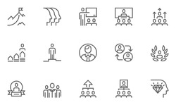 Leadership and Corporate Management Vector Flat Line Icons Set. Collaboration, Career Growth, Striving for Victory, Winner. Editable Stroke. 48x48 Pixel Perfect.