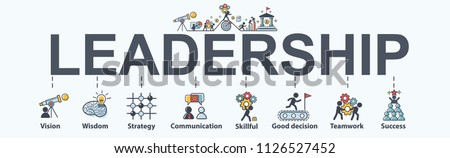 Leadership banner web icon for business, vision, wisdom, skillful, decision, teamwork and success. Minimal vector infographic.