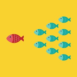 Leadership business concept, cartoon fishes and leading one is different color, teamwork, vector, illustration.