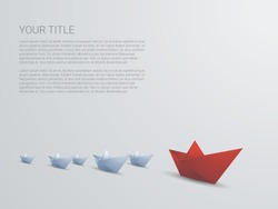 Leadership business concept vector with red paper boat leading white. Presentation template with space for text. Eps10 vector illustration.