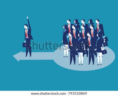 Leadership. Business lading team of worker go forward. Concept business vector illustration.