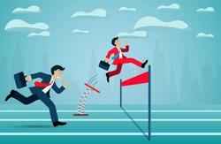 Leadership concept. Businessman competition run go to the finish line to success goal. business finance concept. creative idea. illustration cartoon vector