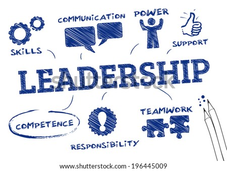 leadership concept . Chart with icons and Keywords