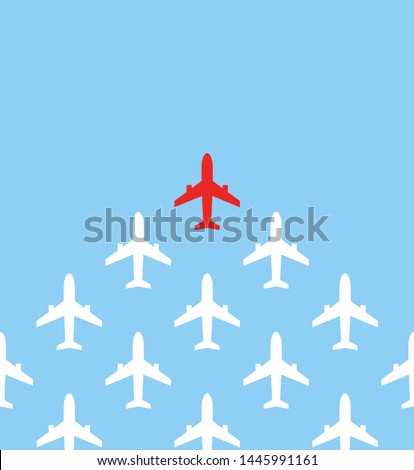 Leadership concept. One red leader airplane leads other white airplanes forward. Red and white airplanes. Motivation business vector illustration.