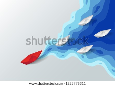 Leadership concept, Origami red paper boat floating in front of white paper boats on blue water polygonal trendy craft style, Paper art design background, Vector illustration