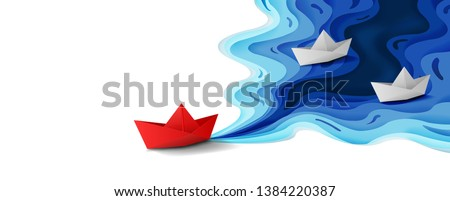 Leadership concept, Origami red paper boat floating in front of white paper boats on blue water polygonal trendy craft style, Paper art design banner background, Vector illustration
