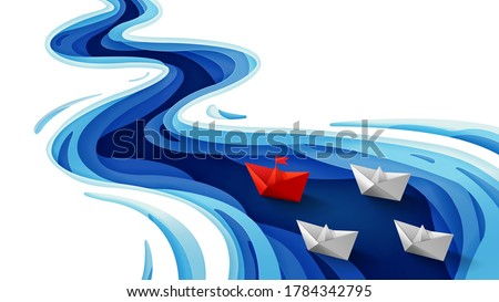 Leadership concept, Origami red paper boat floating in front of white paper boats on winding blue river, Paper art and digital craft style, Vector illustration